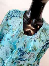 Aqua Silk Patterned  Top T177