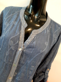 Navy Button Through Linen Shirt T211