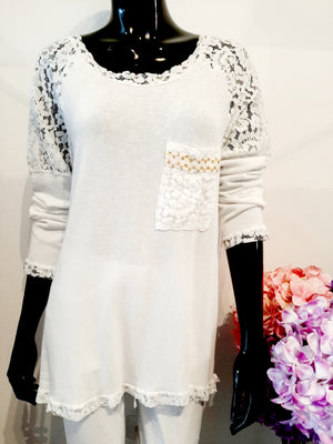 Chalky White Top with Beautiful Lace Panel at Back T223