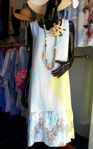 Aqua/Yellow and White Linen Dress with Lace Panel at Back D192