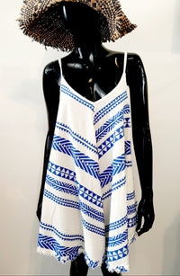 Cornflower Blue and Cream Dress (can also be worn as a top) D111