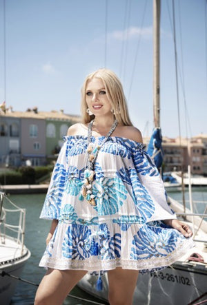 Blue/Turquoise and White Top with Shoestring Straps (2371) T187
