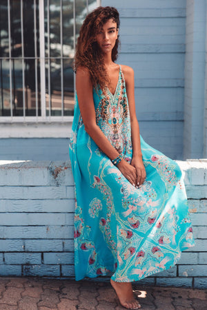 Aquamarine Shoestring Strap Maxi Dress D 219