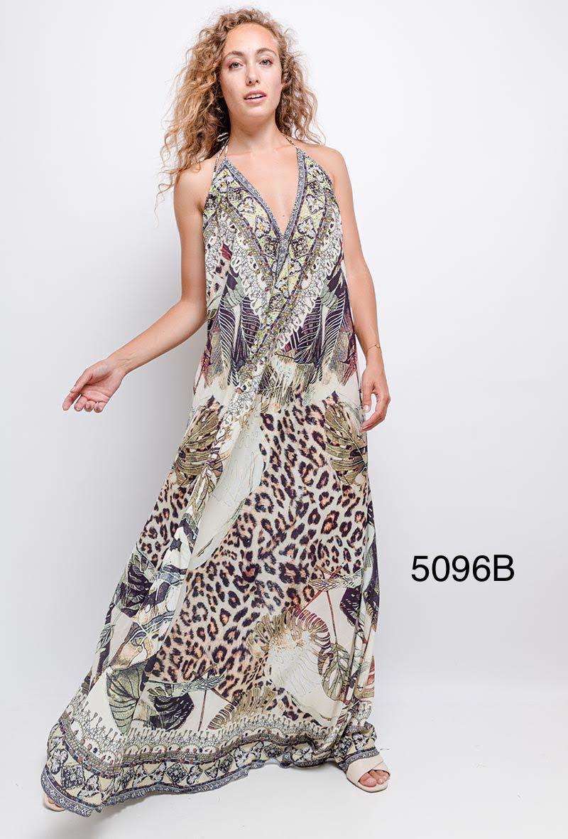 Animal Print Halter Neck Dress D200