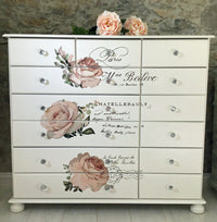 Commission for Ivory Chest of Drawers with Rose Transfer