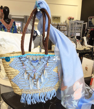 Blue Basket Handbag