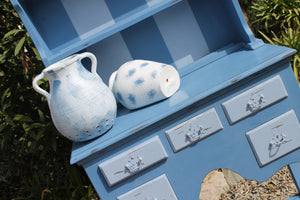 French Blue and Pale Blue 2 Tone Distressed D resser