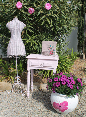 Pink Distressed Table and Pink and Silver Shaded Mannequin