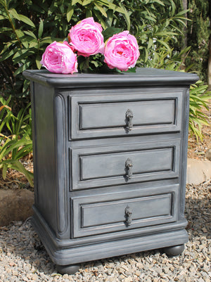 Graphite Bedside Table with Gentle Whitewash