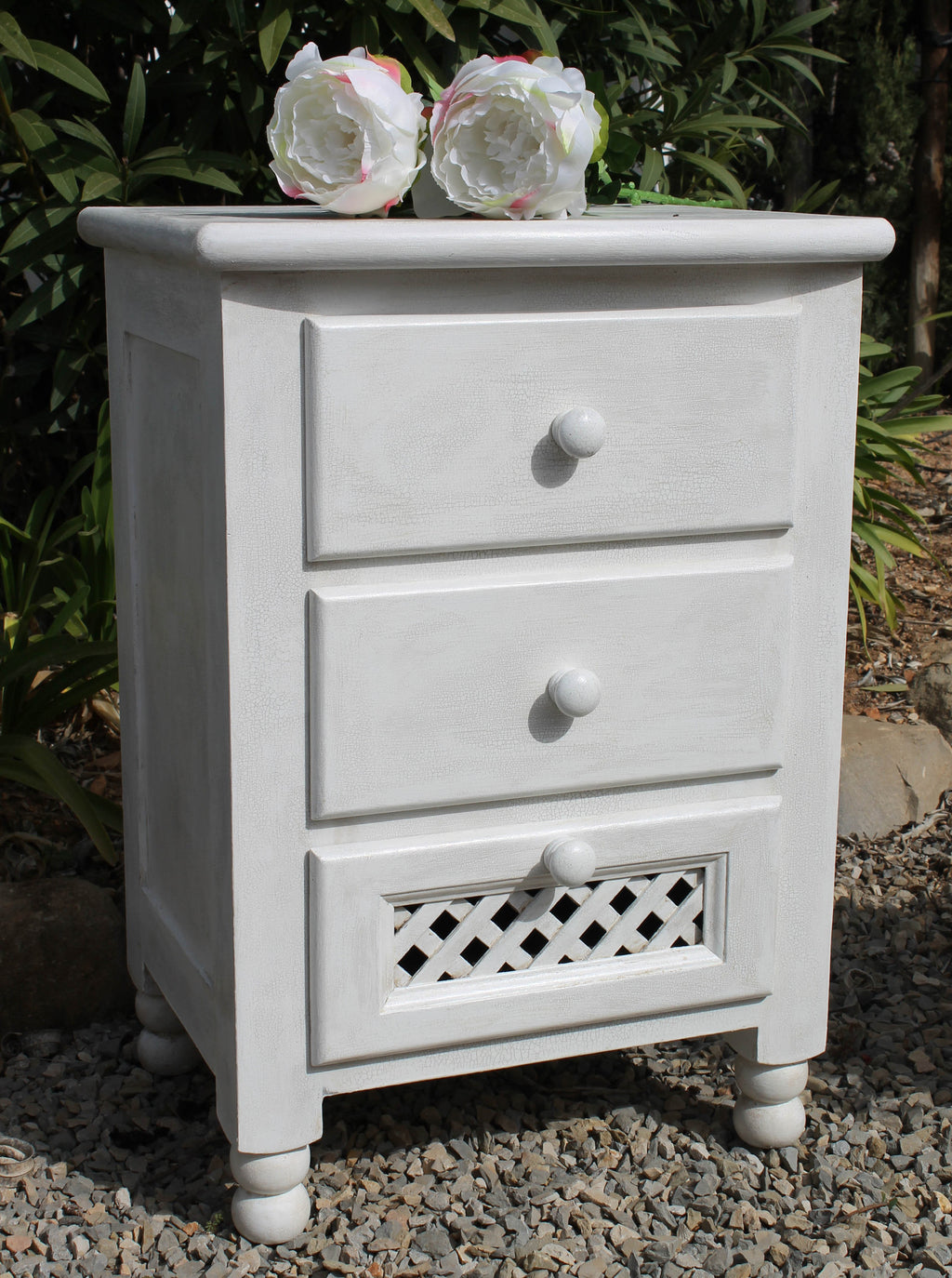 Cream Bedside Cabinet with Craqueleur Finish and Chocolate Drawers