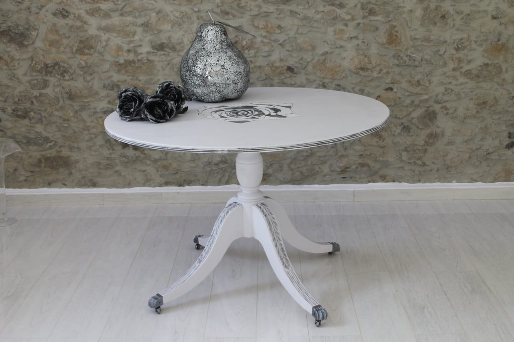 White Dining Room Table with Silver Rose Detail