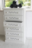 Cream Distressed Chest of Drawers with Silver Stencilling