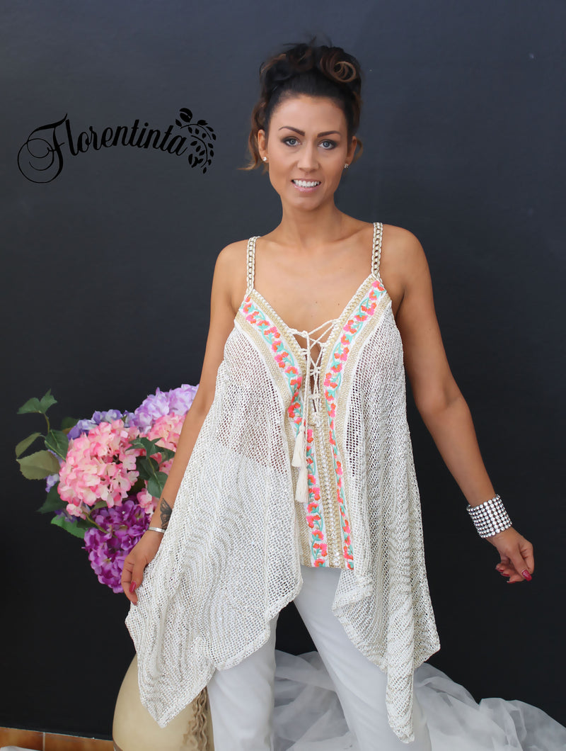 L&J Ivory Mesh Asymmetric Top with Lace Front
