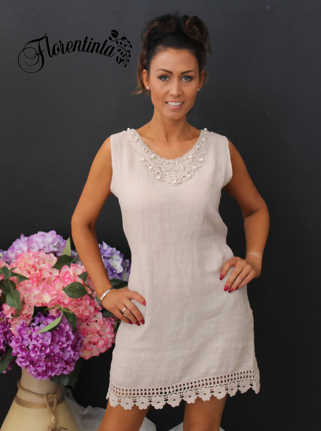 Beige Linen Dress with Lace Detail