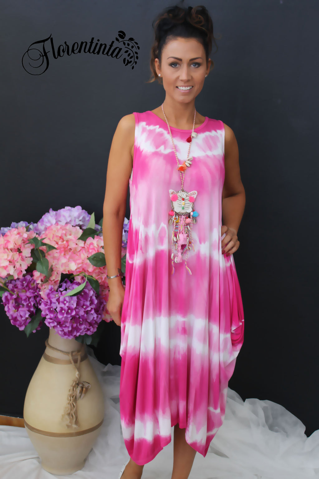 Cerise and White Tie-Dye Dress