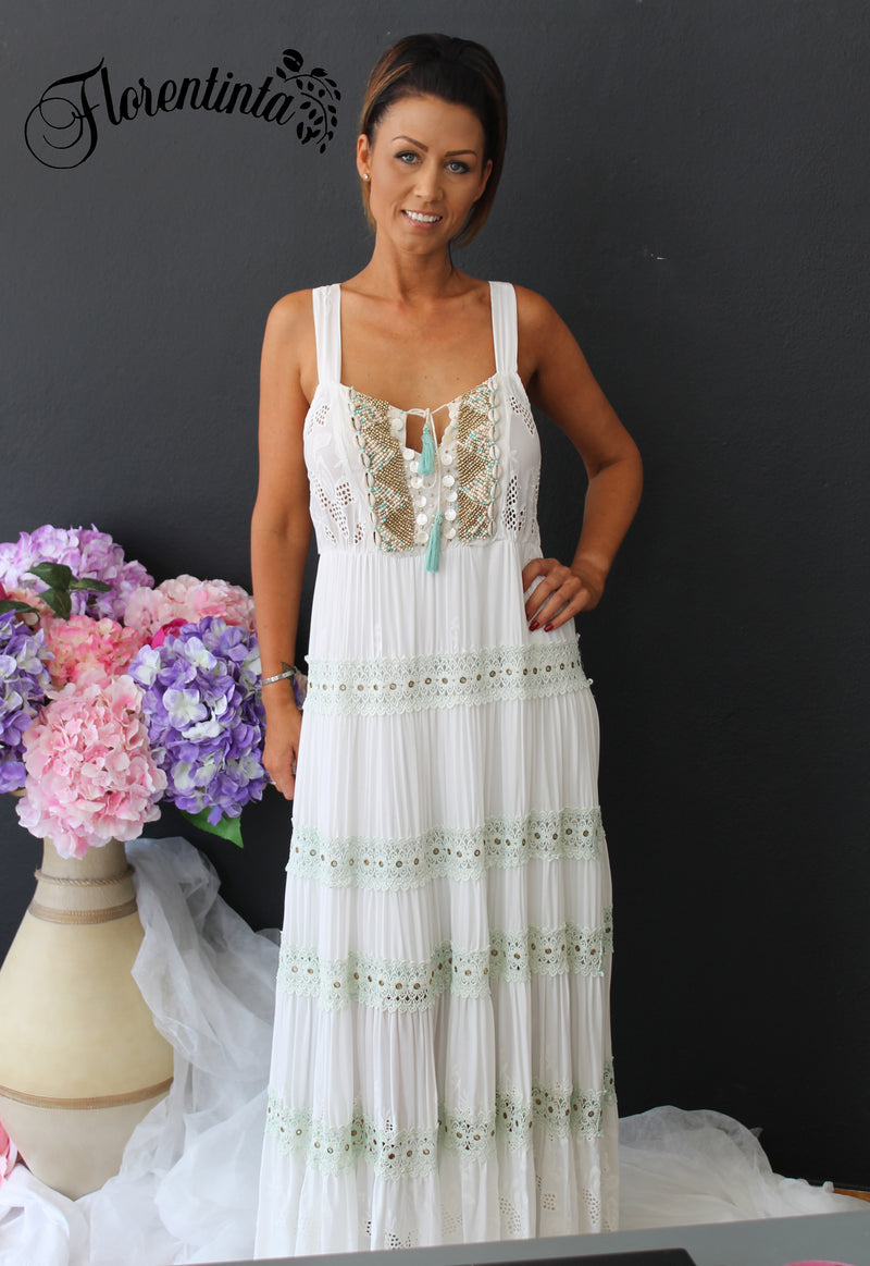 L&J Ivory Long Dress with Tie Front