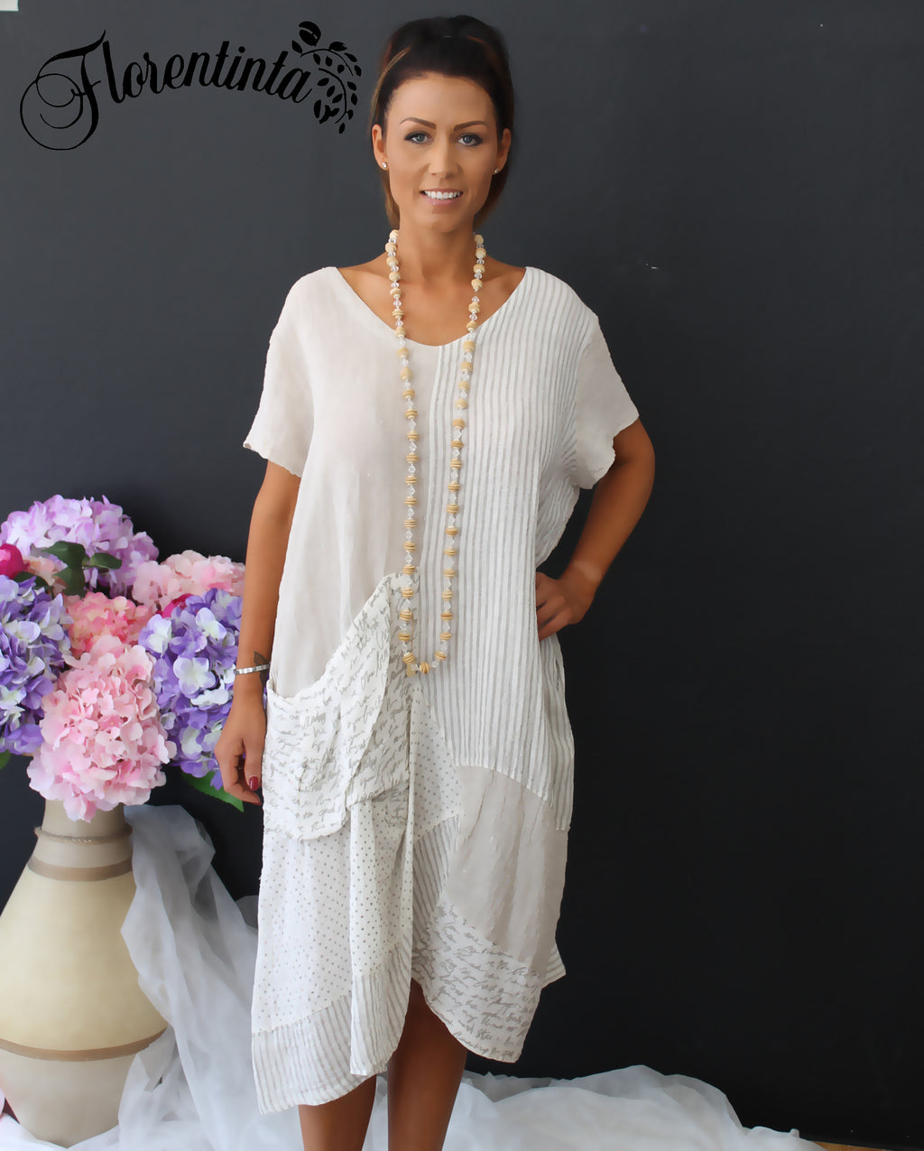 Beige and Cream Linen Look Dress with Sleeves