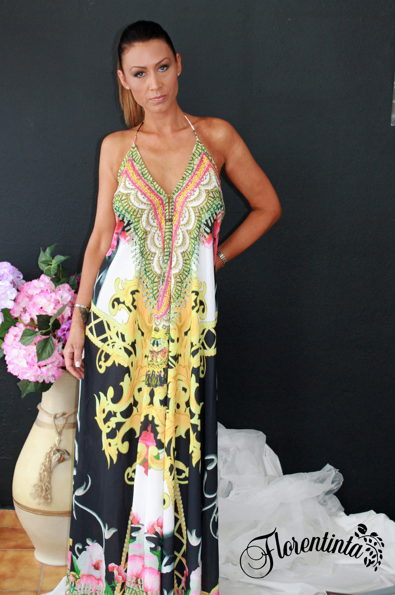 Copy of Long Halter Neck Dress in Black and Yellow
