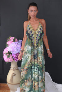 Long Halter Neck Dress in Greens