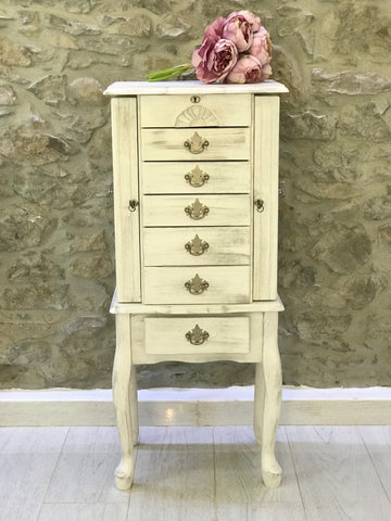 Cream Distressed Jewelry Cabinet