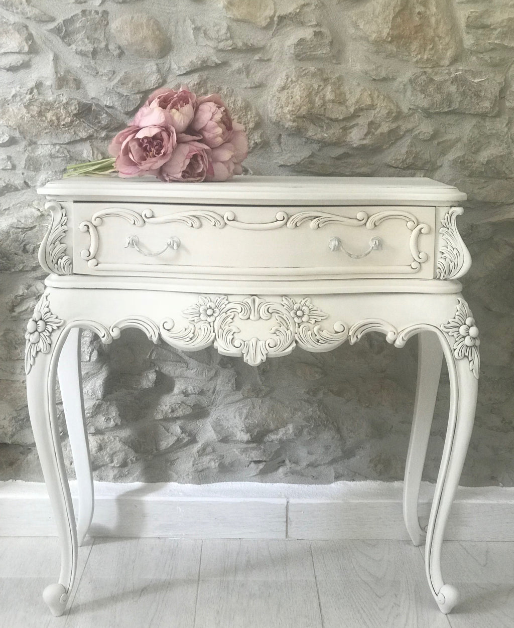 French Bedside Table in Cream with Black wash