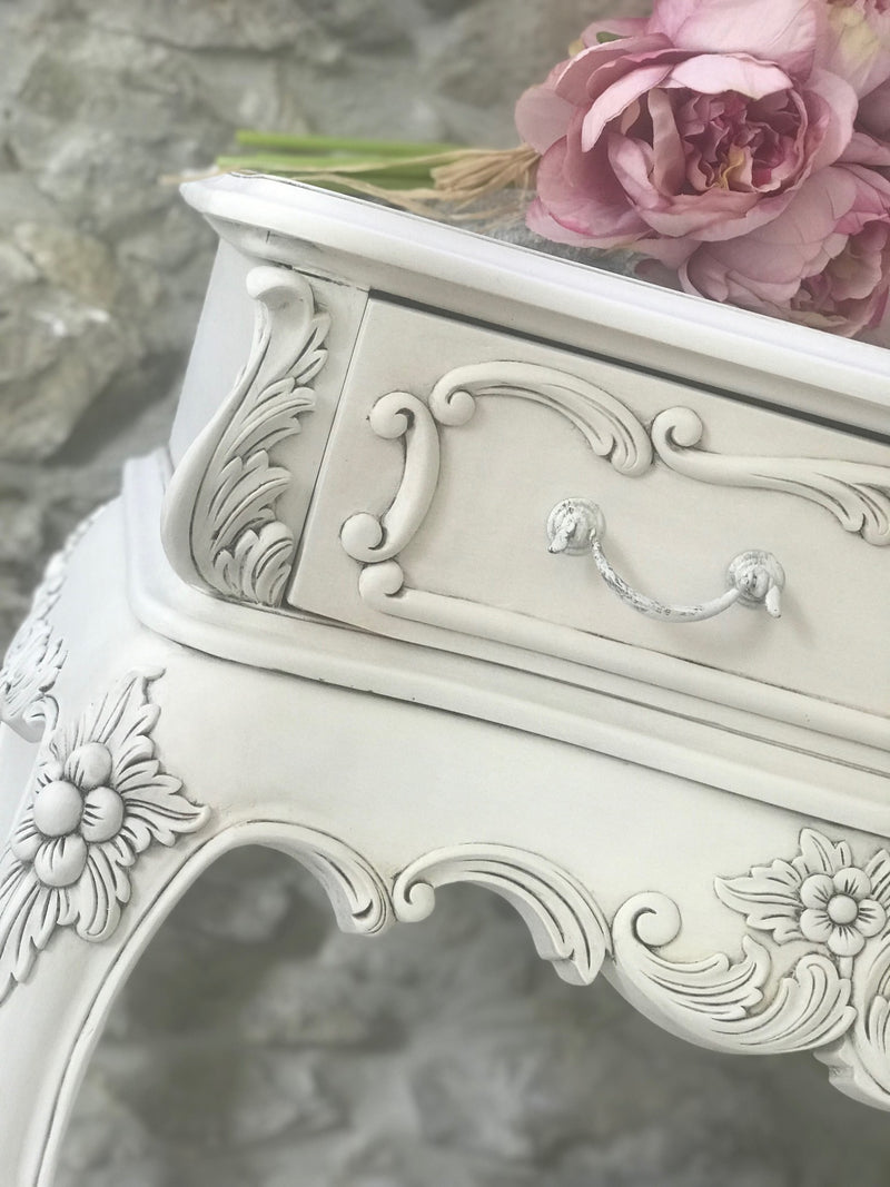 French Bedside Table in Cream and Black