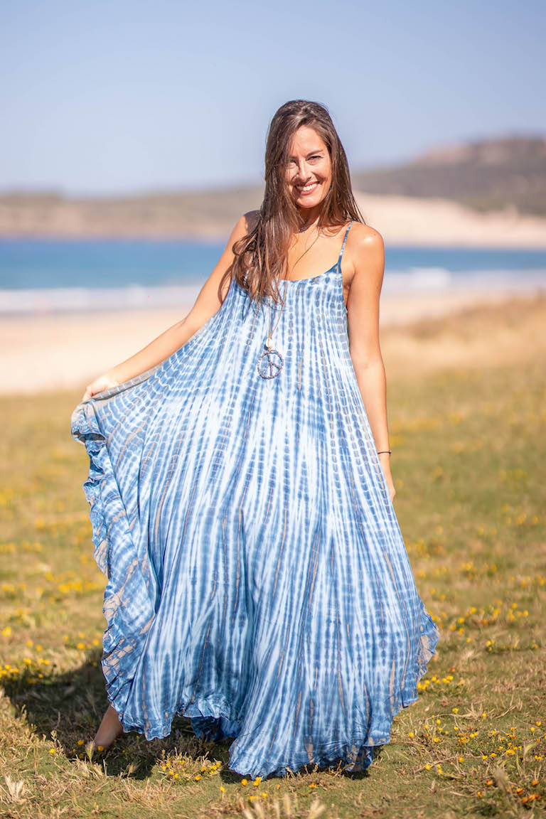 Carola Blue and White Tie Dye Dress D172