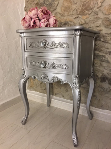 Silver Metallic Bedside Table