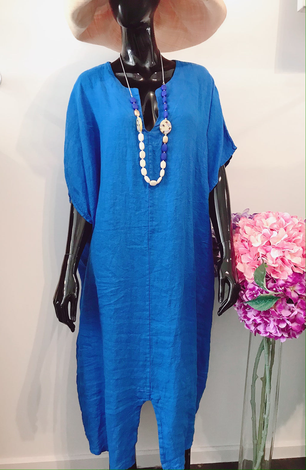 Royal blue Linen kaftan K113