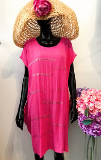 Cerise Slouch/Casual Dress with Knot Back D195