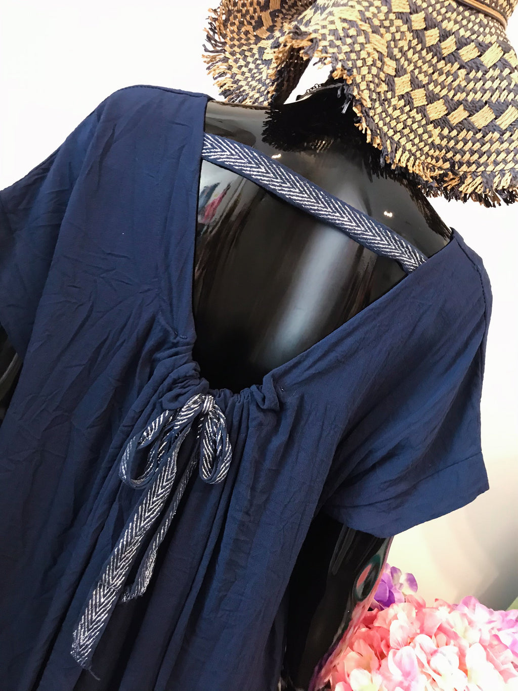 Navy Slouch/Casual Dresswith Knot Back D197