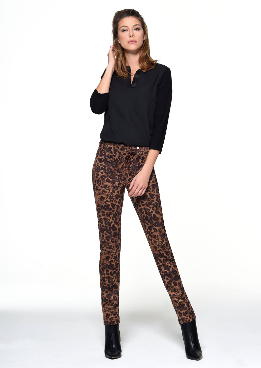 Robell Tan Leopard Trousers T151