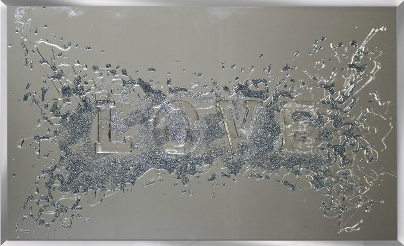 Silver Glitter Embossed Love on Mirror