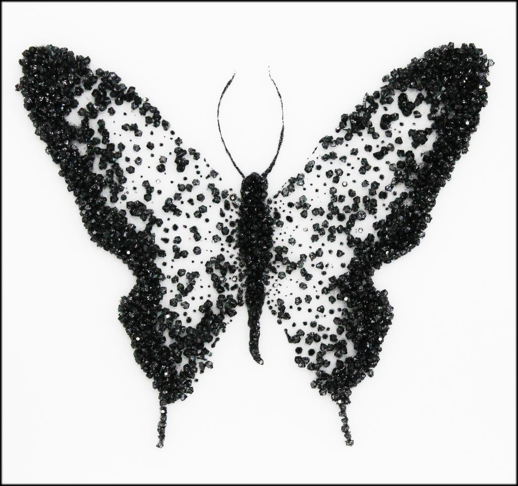 Black Cluster Butterfly Mirror on Clear M102
