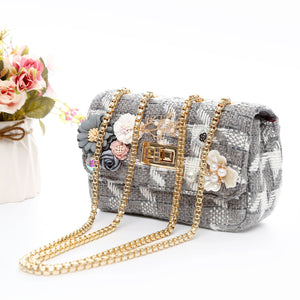 Peach Silver Grey Handbag