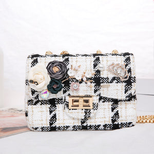 Peach Black and White Handbag