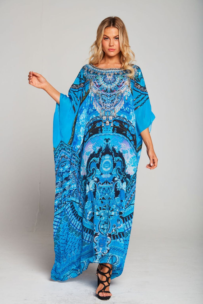 Ocean Round Neck Long Kaftan K114