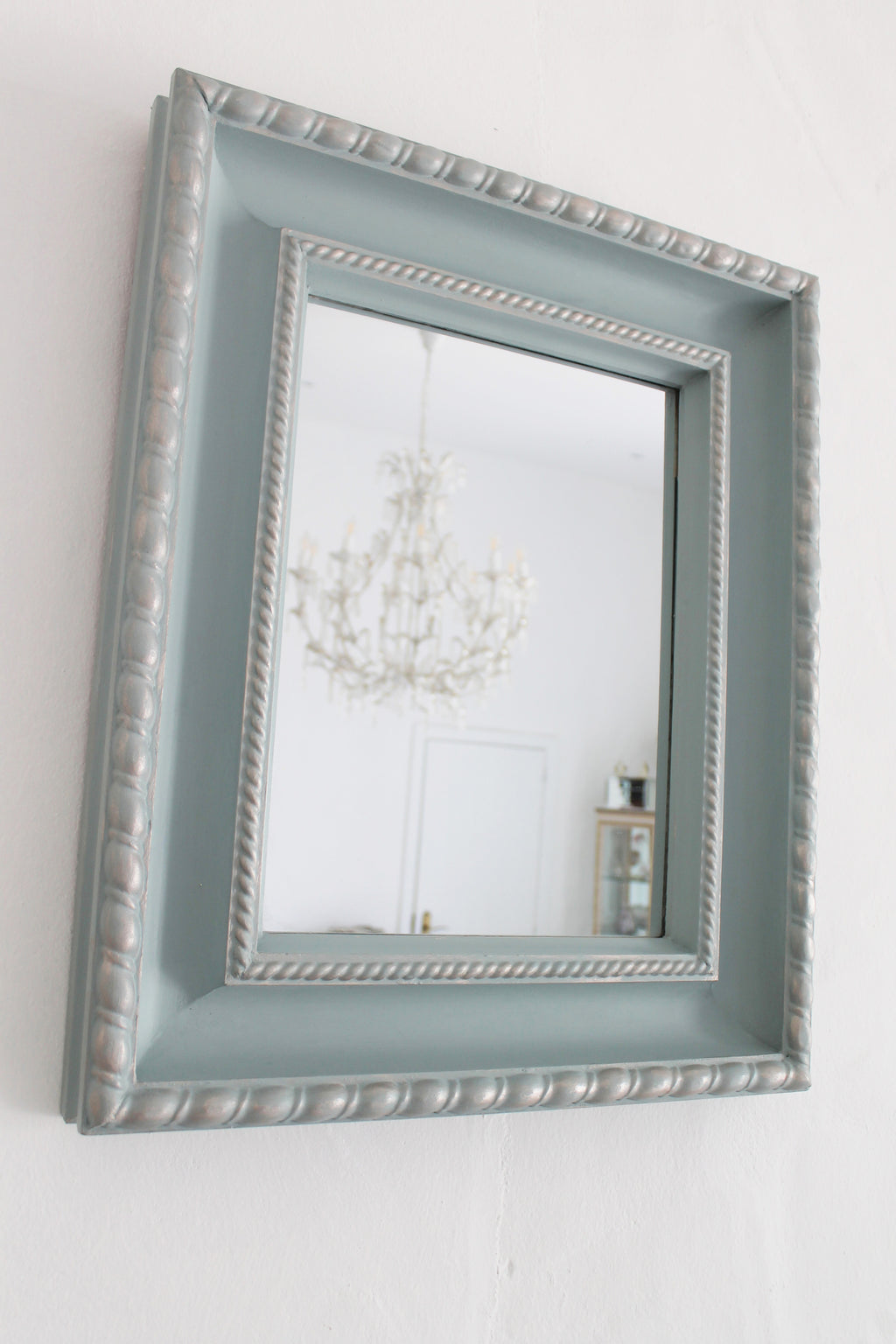 Duck Egg Mirror with Silver Sheen
