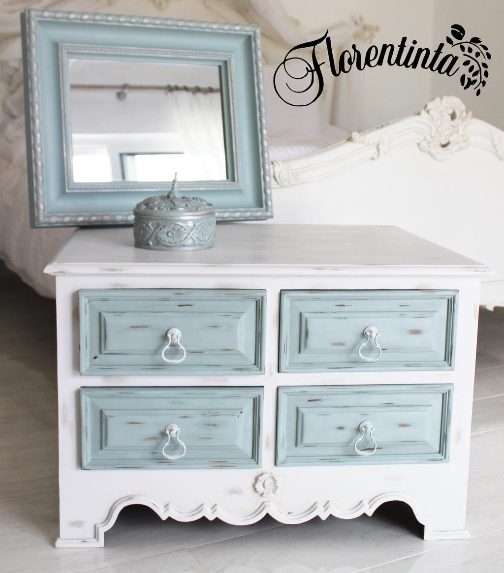 Shabby Chic Cabinet in White Frenchic Furniture Paint with Duck Egg Drawers