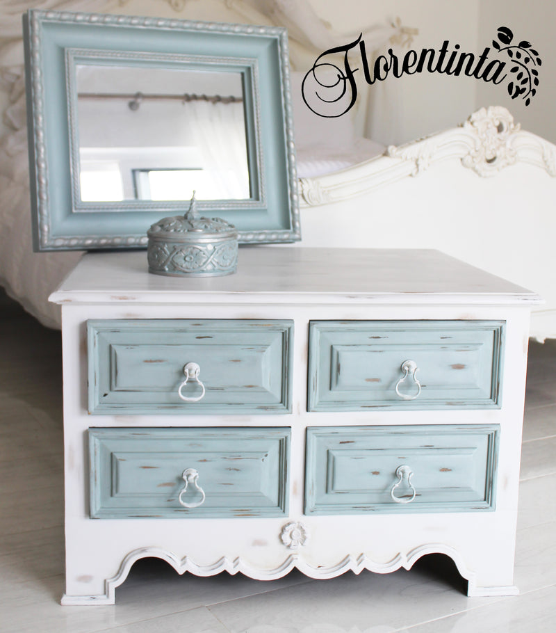 Shabby Chic Cabinet In White Frenchic Furniture Paint With Duck Egg Dr Florentinta