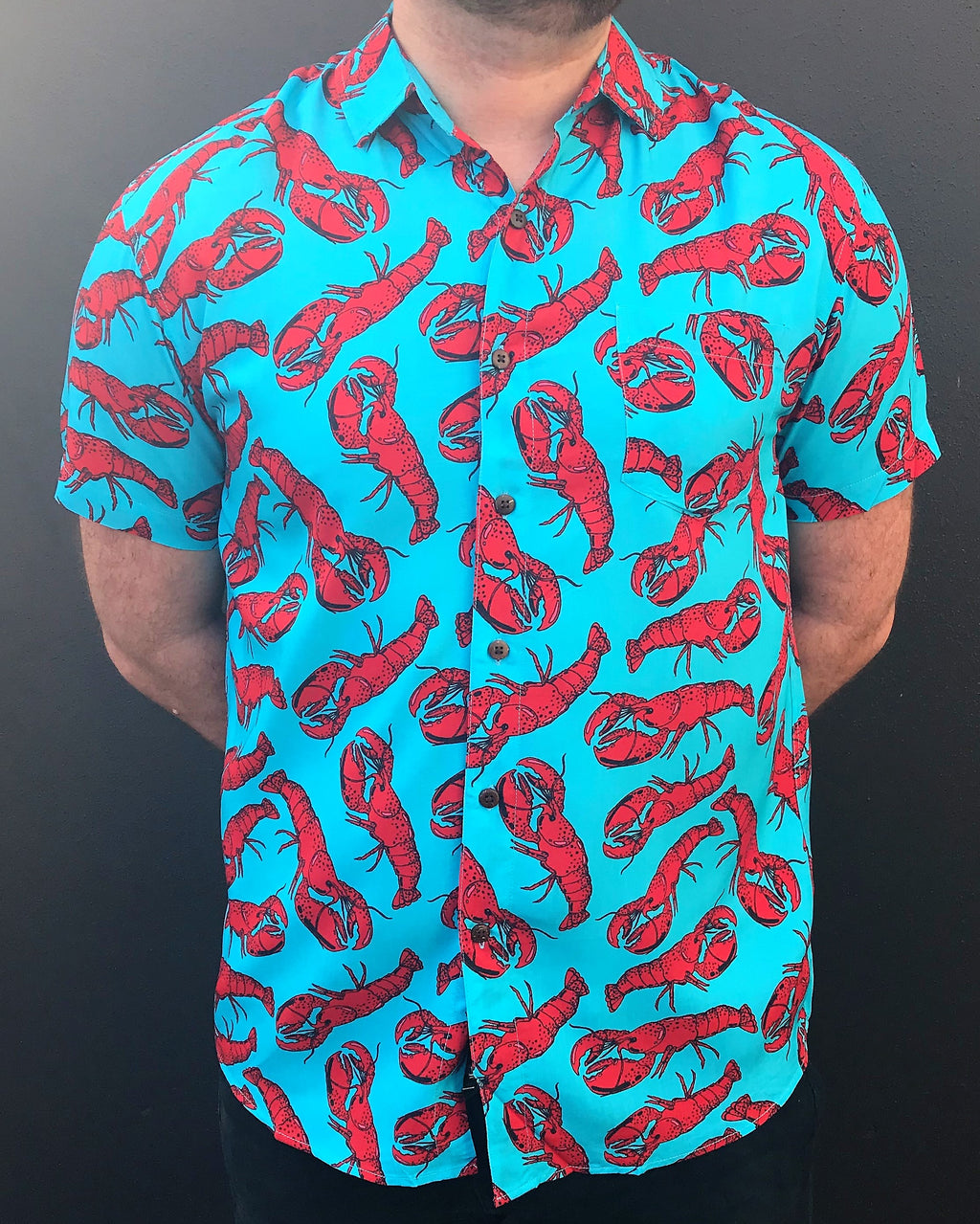 BUTTON UP PARTY SHIRT, SHORT SLEEVE LOBSTER, HAWAIIAN SHIRT, BLUE LOBSTER SHIRT, SKY BLUE, FESTIVAL CLOTHS,SUMMER OUTFIT, LOUD SHIRT, 100% RAYON