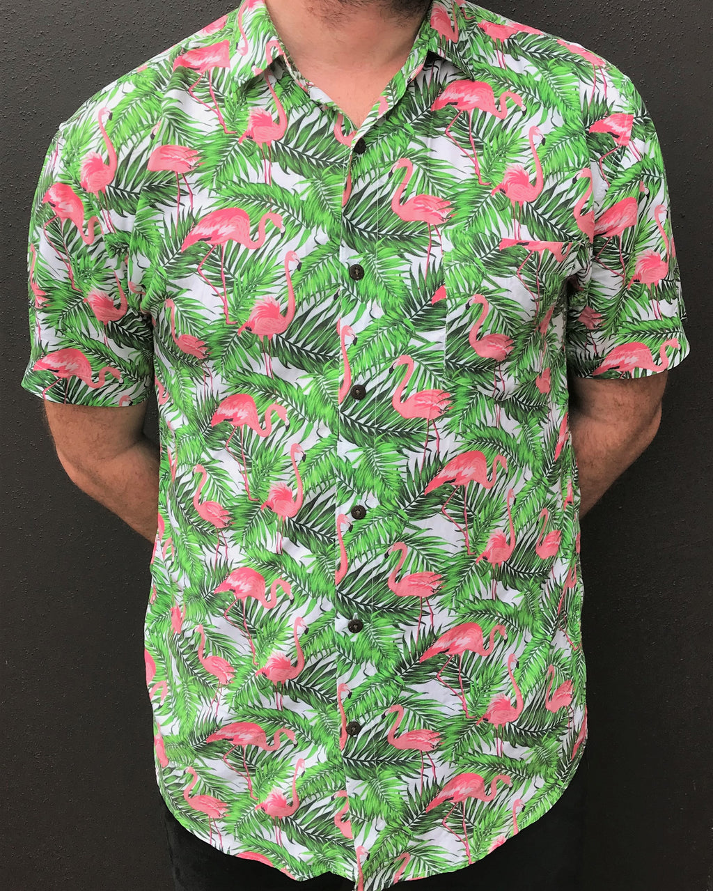 BUTTON UP PARTY SHIRT, SHORT SLEEVE FLAMINGO, HAWAIIAN SHIRT, PINK FLAMINGO SHIRT, GREEN, FESTIVAL CLOTHS,SUMMER OUTFIT, LOUD SHIRT