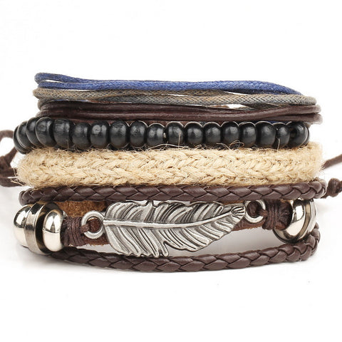 1 Set 4 Pieces Leather Bracelet Men Multi-layer