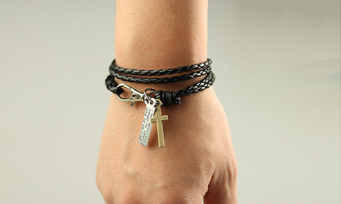 Vintage Leather Bracelet Cross 4 Colors