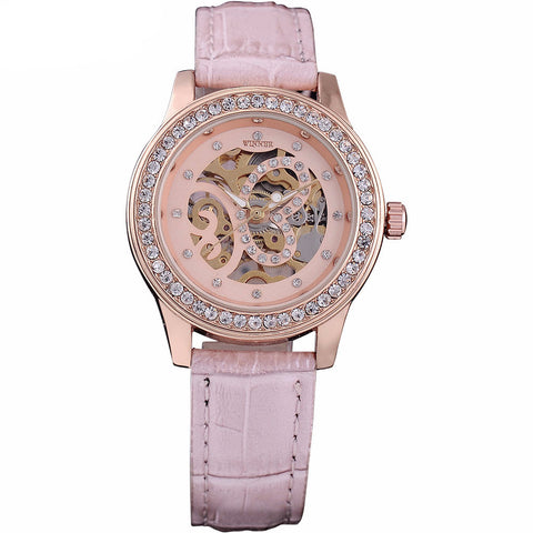2017 Pink Skeleton Luxury Watch