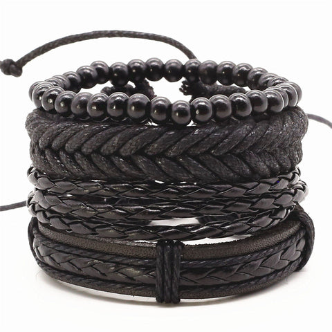 Vintage Rope Handmade Bead Woven Leather Men Bracelets 4pcs/set 8 variants
