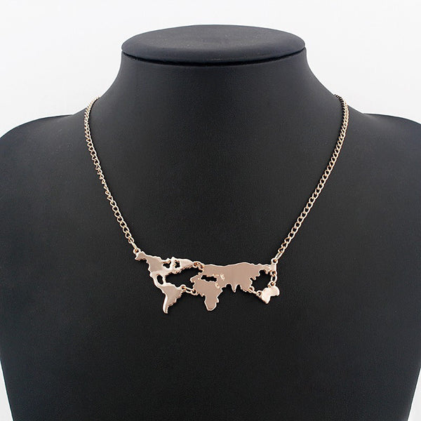 World Map Necklace 4 Colors