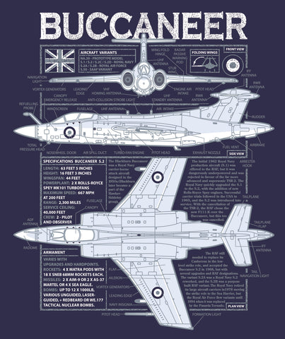 Aircraft Icon Blueprint T shirt - Buccaneer