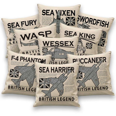 Aircraft icon cushions - Swordfish, Sea Fury, Sea Vixen, Sea Harrier, Phantom, Buccaneer, Sea King, Wessex, Wasp & Lynx