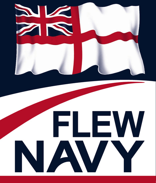 Close up of Flew Navy and white ensign design